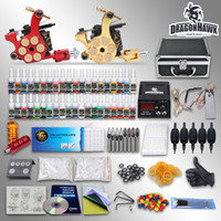 professional tattoo kit - Complete Tattoo Kit Guns Machines Colors Ink Sets Pieces Disposable Needles Power Supply GD USA Dispatch
