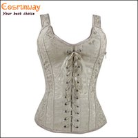 Wholesale Front And Back Adjust Rope Corpete Corselet Modesty Panel Corsets For Women Jacquard Corset Vestido