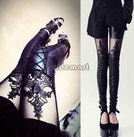 Cheap Sexy Leggings Faux Leather with Lace Pants Leggings Full Length Women Leggings Hollow Out Hot Sellings Free Size 38 SV009304
