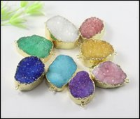 agate gem stone - 10pcs Mixed color Gold Plated Nature Quartz Druzy stone Connector Crystal Drusy Gem stone Connector Beads Pendant Jewelry findings