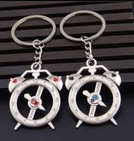 alarms metal open - 100 pairs Lovers Alarm clock key chain Metal key holder Creative key ring Opened small gift custom made