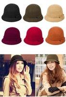 Wholesale New Arrivals Vintage Women Ladies Wool Fedora Bucket Dome Cloche Bowler Warm Hat Stingy Brim Caps FX224