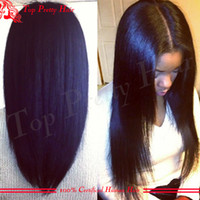 Wholesale Grade A Light Yaki Straight U Part Human Wigs Virgin Hair Unprocessed Peruvian Upart Wigs Sale For Women