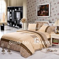 Wholesale Royal Leopard pattern of bedding sets luxury include Duvet Cover Bed sheet Pillowcase bedclothes Home textile