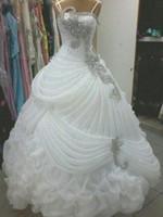 Wholesale Wedding Gown Dress Luxury Wedding Dresses Crystal Beaded Sequins Ruffles A Line Wedding Dress Sweep Train Ball Gown Elegant Arabic