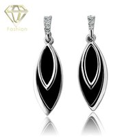 baking plates - Earrings for Women New Elegant AAA Cubic Zircon Crystal Baked Enamel Black White Leaf K Rose White Gold Plated Drop Earrings Jewelry