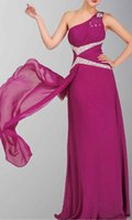 affordable designer dresses - Hottest Styles And Fabulous Designer One Shoulder Sequins Chiffon Floor Length Sash Prom Dresses Burgundy Affordable Price