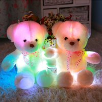 Wholesale cm Colorful Glowing Plush Bear Pillow Flashing LED Light Cushion Luminous Bear Doll Toy Christmas Birthday Gift Fast Shipping