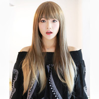 Wholesale Cosplay wigs synthetic ombre color wig cm long straight blonde wig heat resistant Liu Qi flax gray Harajuku wigs with bangs