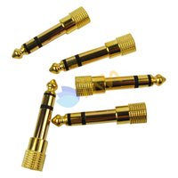 Wholesale 5pcs Golden Plate mm Female Jack to mm Male Plug Stereo Converter Adapter