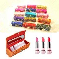Wholesale New Retro Brocade Embroidered Lipstick Empty Cosmetic Case Holder Box with Mirror Colors Randomly