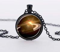 art ufo - Saturn Vintage Style Glass Cabochon Art Picture Necklace Planet Space UFO Charm Pendant Necklaces CN567