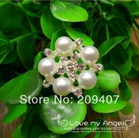 Wholesale 25mm Brilliant Rhinestone Pearl Metal Button clear rhinestone with silver plating with shank wedding Bridal Prom