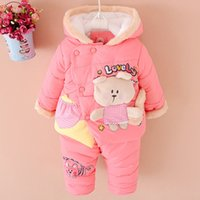 Wholesale Super Cute Coats - NEW Baby Set 2015 Winter Girl Cartoon Squirrels Suit Super Thick Warm Coat+Pants (Two Piece Sets) Cashmere Cotton-padded clothes