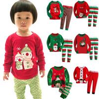 Wholesale kids christmas sleepwear children clothing boys suits girls cotton deer stripe tops pants pajamas santas little helper sleepwear sets