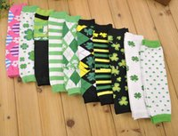 argyle socks green - PrettyBaby ST Patricks Day Leg Warmers Argyle Clover Leg Warmer Green White Striped leg warmers Lucky clover socks green