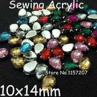 Wholesale 10x14mm Teardrop Acrylic Fancy Stone In Plated Silver Claw Setting Sewing Beads Crystal rich colors mixed