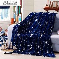 Wholesale Flannel blanekts on the bed blue white star throw blanket mink fleece travel blanket pokryvalo pled na krovat cobertor