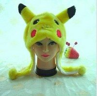 Wholesale Punk Style New pc Short style Pikachu animal caps winter cartoon hat warm plush ear cover