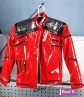 Cheap Rare MJ Michael Jackson Red Beat It Zipper Sequins Leather Jacket Performance Imitation Shows Collection Gift Halloween