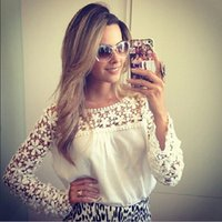 Cheap New fashion Tops Women Chiffon Blouses ladies blouse Lace long Sleeve blusas femininas de manga comprida blusa renda