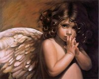 baby oil portrait - High quality Hand painted Portrait oil painting on canvas Unframed Angel Baby Girl x36inch