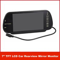 Wholesale Freeshipping languages HD Car Multifutional Monitor quot TFT LCD Color Car Rearview Mirror Monitor SD USB MP5 FM touch key