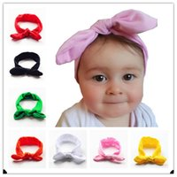 Wholesale New Cotton blend Baby Headwrap girl hair Bunny Ears headband Bow Strechy Knot Headband Fashion Hairband A