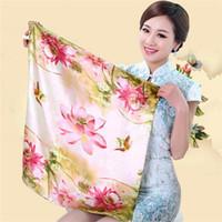 Wholesale Women silk scarves magic satin scarf for lady small kerchief towel imitation silk scarf designs