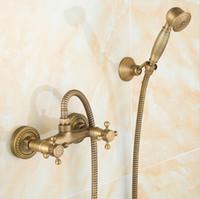 bath shower kits - Antique Brass Bathroom Bath Wall Mounted Hand Held Shower Head Kit Shower Faucet Sets AF