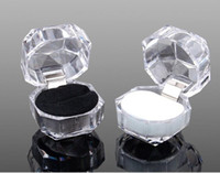 Wholesale Transparent Imitated Crystal Ring Box Acrylic Jewelry Box Stud Earrings Gift Boxes Jewelry Box Dustproof Plug Boxes