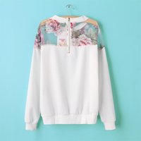 autumn season flowers - New Year gift hot when the explosion of new season autumn Europe mosaic flower printed long sleeved sweater coat Dress shirt