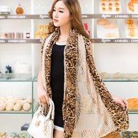Wholesale Splendour show chiffon scarf autumn and winter new Korean ladies wild leopard scarf scarf shawl dual cotton cape
