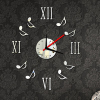 Wholesale Wall Clock Sticker Set Roman Digits Music Notes Creative DIY Mirror Effect Acrylic Glass Decal Home Removable Decoration