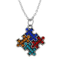 custom design jewelry - Fashion Design Metal a Rhodium Custom Puzzle Piece Link Chain Autism Pendant Necklaces For Jewelry Making