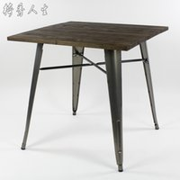 antique dining table styles - Antique vintage loft industrial style square table creative coffee table solid wood and metal table IKEA dining table