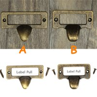 antique file cabinet - New Arrival Antique Brass Drawer Label Pull Cabinet Frame Handle File Name Card Holder order lt no track
