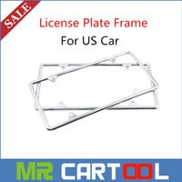 Wholesale New xSilver Stainless Steel License Plate Frame Tag Cover Screw Caps for US Car