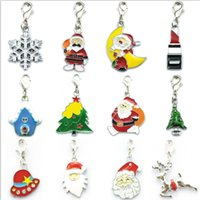 Wholesale Brand New Floating Charms Twelve Style Enamel Christmas Style Lobster Clasp Charms DIY Christmas Jewelry Gift