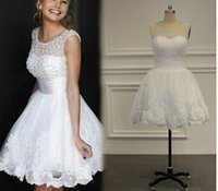 wedding grown dress - Actual Pictures Straps Full Pearls Lace Mini Wedding Dress Pearl Short Sleeve Bride Gowns With Grew Neck Backless Zipper Back