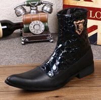 ankle wellington - HOT Autumn winter high leather leisure for men s boots in British han edition tide wellingtons business personality outdoor boots