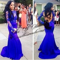 Model Pictures Trumpet/Mermaid High Neck Free shipping Plus Size 2015 Sexy Vestidos de fiesta slim tight mermaid prom dress Royal blue Custom made Floor length