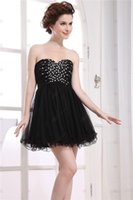 Cheap Sexy Black Homecoming Dresses New A Line Strapless Sweetheart Neck 2015 Black Tulle Mini Short Cocktail Dresses Cheap