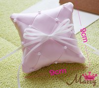 Wholesale 2015 High Quality New Delicate Cheap Beaded Ivory and Pink Colors Ring Pillow Fashion Nice Wedding Ring Pillow