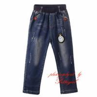 autumn watch - Cutestyles Top Sale Boys Cartoon Watch Pattern Jeans Autumn Ruffle Boys Trousers Kids Wear PT81016