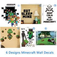 cartoon wall stickers - 3D Walls Minecraft Wall Stickers Creeper Decorative Wall Decal Cartoon Wallpaper Kids Party Decoration Christmas Wall Art Exclusive Sale