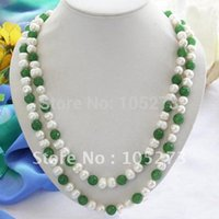 aa jewellery - Charming inchs AA MM White Color Round Pearl Green Jade Bead Necklace Fashion Jewellery