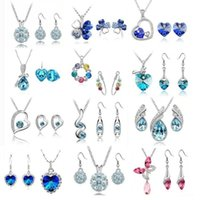 earrings and necklace sets - 12 Set high quality crystal diamond pendant necklace and earrings suit a variety of styles for Women Jewelry Set