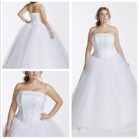 Wholesale 2016 Tulle Ball Gown Wedding Dresses A beaded satin corset bodice Strapless neckline and beaded tulle skirt T8017 Plus Size gowns