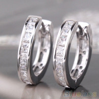 Wholesale Fashion Silver Plated Small Round Square Crystal Hoop Huggie Earrings Men PGB